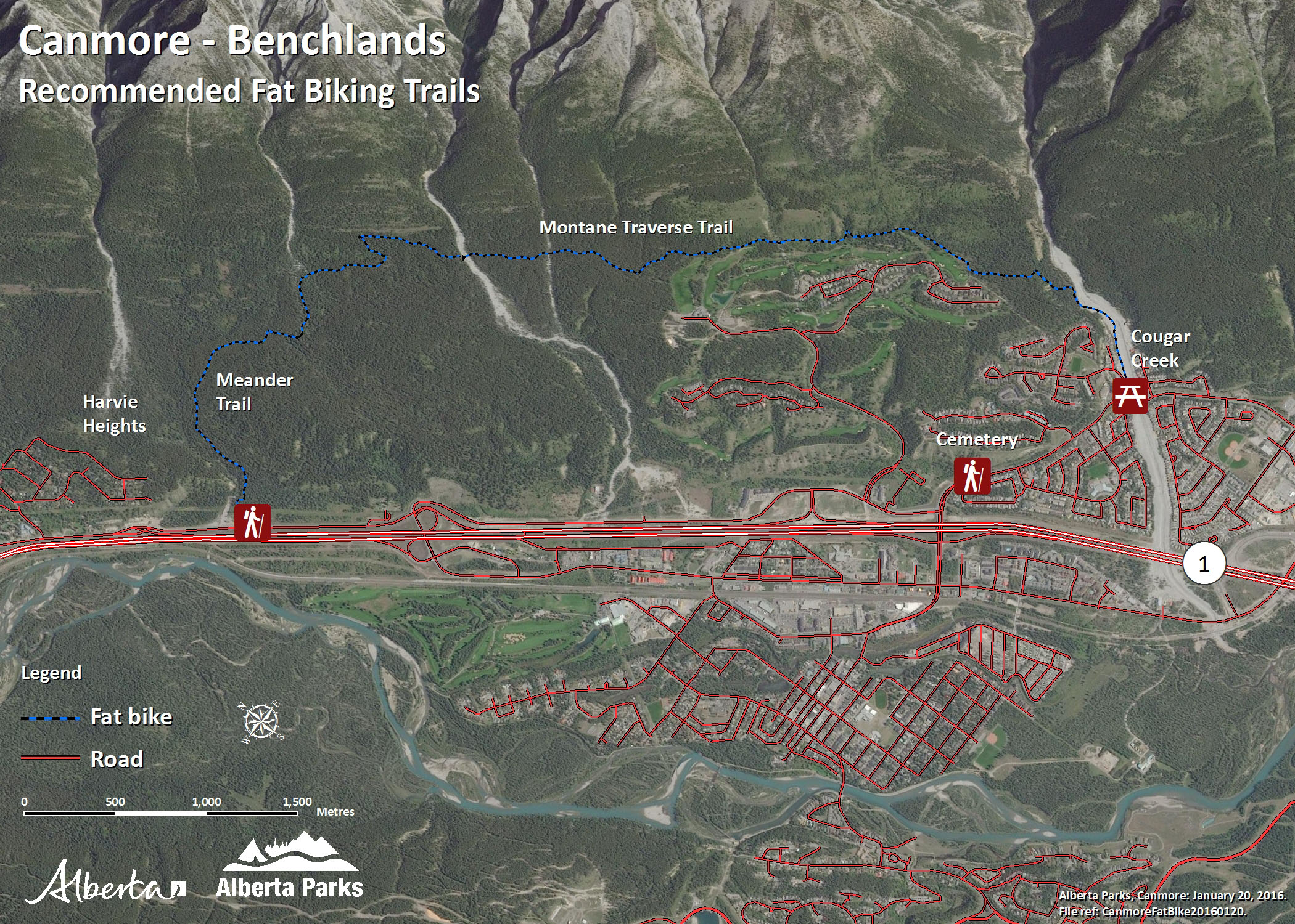 Kananaskis Canmore Area - Benchlands Fat Biking Trail Map