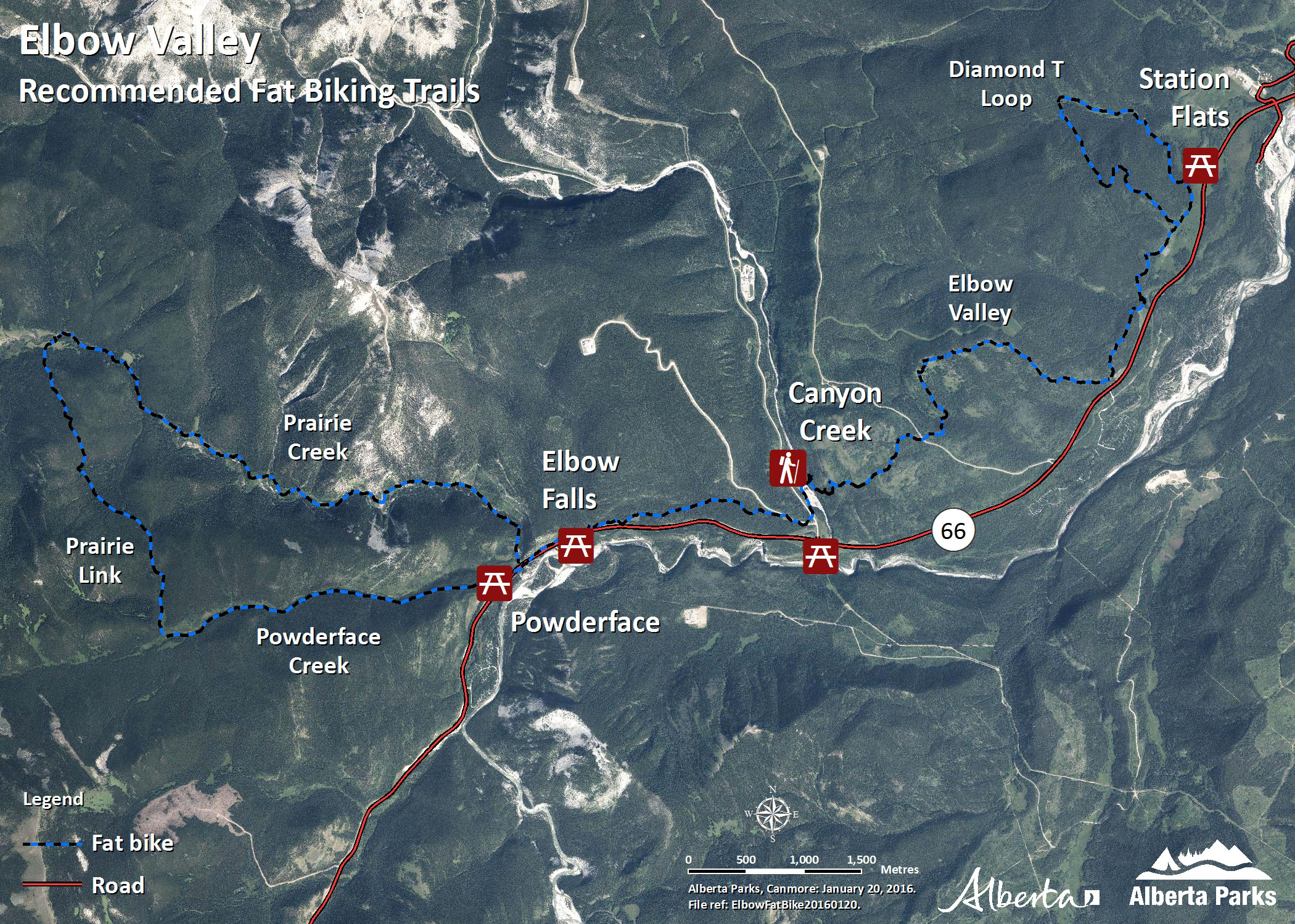 Kananaskis - Elbow Valley - Map of Fat Biking Trails